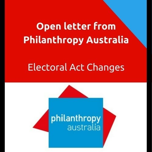 Open letter from PhilanthropyElectoral Act Changes